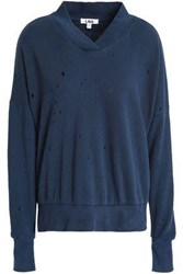 Lna Lake Distressed French Cotton Terry Sweatshirt Navy