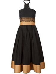 Sophie Theallet Bustier Raffia Lace Dress Black