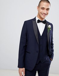 French Connection Slim Fit Peak Collar Tuxedo Jacket Navy