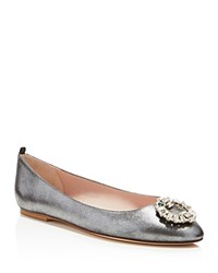 Sjp By Sarah Jessica Parker Betty Metallic Jeweled Toe Ballet Flats Silver