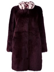 Giambattista Valli Mink Fur Collar Shearling Coat Pink And Purple
