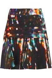 Mcq By Alexander Mcqueen Layered Printed Cotton Blend Jersey Mini Skirt Black