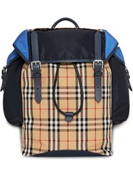 Burberry Colour Block Vintage Check And Leather Ranger Backpack Blue