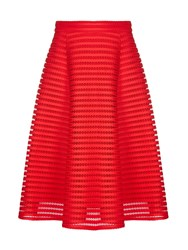Yumi Eyelet Embroidery Flared Midi Skirt Red