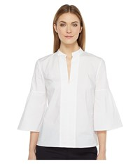Ellen Tracy Collarless Lantern Sleeve Shirt White Women's Clothing
