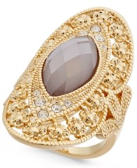 Inc International Concepts Gold Tone Large Stone Filigree Statement Ring Only At Macy's