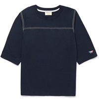 Maison Kitsune Cotton Jersey Baseball T Shirt Blue