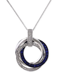 Effy Collection Royale Bleu By Effy Sapphire 1 3 Ct. T.W. And Diamond 1 4 Ct. T.W. Circle Pendant Necklace In 14K White Gold Blue