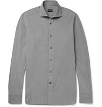 Ermenegildo Zegna Washed Cotton Twill Shirt Gray