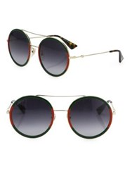 Gucci 56Mm Tortoise Round Sunglasses Gold