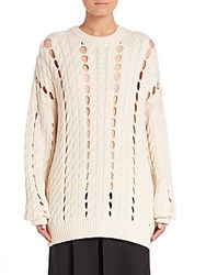 Alexander Wang Cable Knit Cotton Pullover Bone