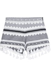 Dodo Bar Or Embellished Lace Trimmed Cotton Jacquard Shorts Charcoal