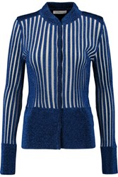 J.W.Anderson Lurex Ribbed Lame And Stretch Knit Cardigan Blue