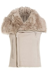 Rick Owens Leather And Shearling Asymmetric Vest Beige