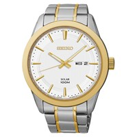 Seiko Sne364p1 Men's Two Tone Stainless Steel Bracelet Strap Watch Silver Gold