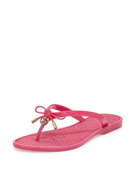 Jelly Bow Logo Charm Thong Sandal Saucy Pink Tory Burch Saupnk