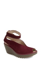 Women's Fly London 'Yala' Perforated Leather Sandal Red Cupido Mousse Leather