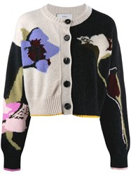 Pringle Of Scotland Cropped Floral Pattern Cardigan Black