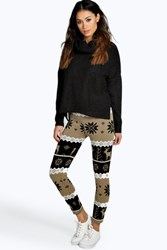 Boohoo Reindeer And Snowflake Christmas Legging Mocha