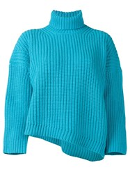 Department 5 Chunky Cropped Knit Sweater Blue