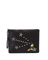 Cynthia Rowley Isla Crystal Star Faux Leather Clutch Black