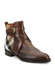 Burberry Vaughn Leather And House Check Booties Brown