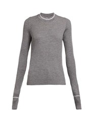 Maison Margiela Extra Long Sleeved Rib Knit Wool Blend Sweater Grey