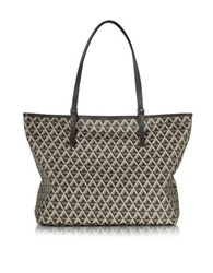 Lancaster Paris Ikon Printed Coated Canvas And Leather Tote Brown