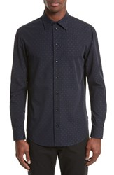 Armani Collezioni Fil Coupe Diamond Jacquard Sport Shirt Fancy Blue