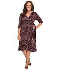 Kiyonna Flirty Flounce Wrap Dress Bordeaux Vineyard Print Women's Dress Brown