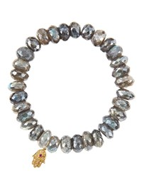 Sydney Evan Mystic Labradorite Rondelle Beaded Bracelet With 14K Gold Hamsa Charm Made To Order Gray