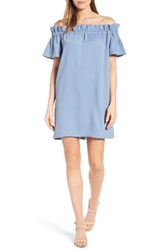 Pleione Women's Off The Shoulder Dress Faded Denim