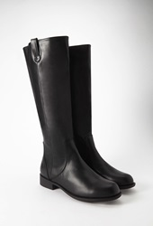 Forever 21 Faux Leather Riding Boots Black