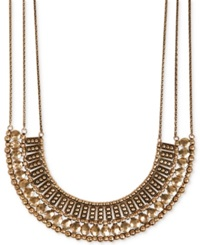 Lucky Brand Silver Tone Textured Metal Necklace Gold