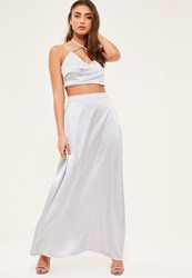 Missguided Petite Exclusive Grey Satin Maxi Skirt