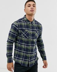 Soul Star Fitted Check Shirt With Double Check Pocket Black