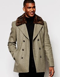 River Island Peacoat In Wool With Detachable Faux Fur Collar Oatmeal