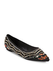 Alice Olivia Lenora Beaded Point Toe Flats Black Multi
