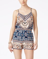 Angie Juniors' Sleeveless Printed Romper Blue