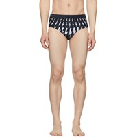 Neil Barrett Black Lightning Bolt Swim Briefs