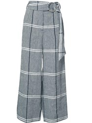 Suno Plaid Cropped Trousers Grey