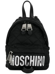 Moschino Mini Quilted Logo Backpack Black