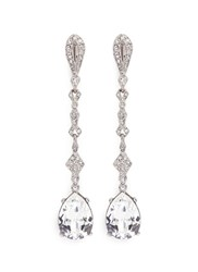 Kenneth Jay Lane Glass Crystal Pave Pear Drop Clip Earrings White