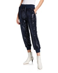 Cinq A Sept Giles Sequined Pull On Jogger Pants Blue Metallic