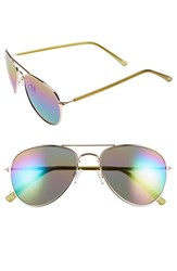 Women's Sole Society 55Mm Mirrored Lens Aviator Sunglasses Gold Multi
