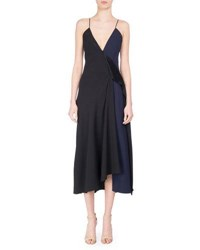 Victoria Beckham V Neck Two Tone Bias Cut Midi Dress Black Blue Black Blue