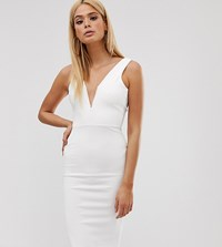 Missguided Tall Bodycon Midi Dress With V Bar Plunge Neck In White