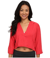 Lole Peppermint Top Campari Women's Long Sleeve Pullover Red