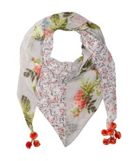 Steve Madden Coco Floral Patched Day Wrap Coral Scarves