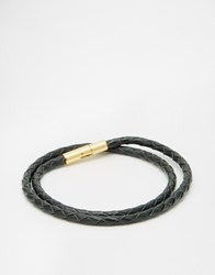 Mister Braided Wraparound Bracelet Black